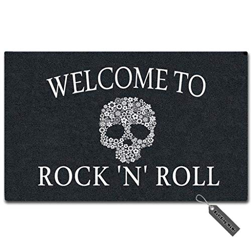 MsMr Custom Doormat Skull Welcome to Rock 'N' Roll Decor Doormat Indoor/Outdoor Door Mat 18 Inch by 30 Inch Non-Woven Fabric Non Slip ()