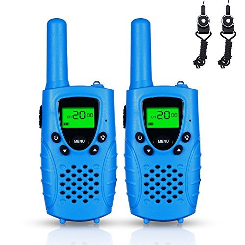 FAYOGOO Kids Walkie Talkies, 22-Channel FRS/GMRS Radio, 4-Mile Range Two Way Radios with Flashlight and LCD Screen. 2 Pack, Blue