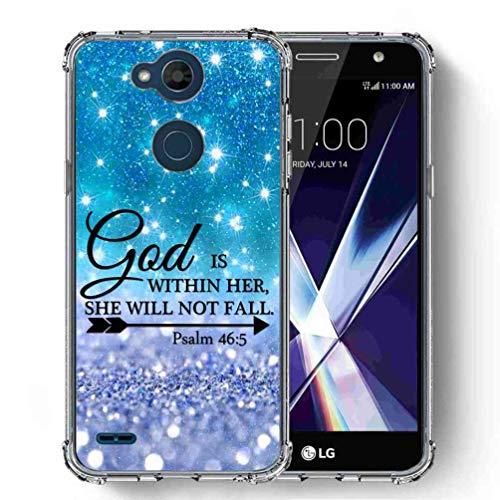 (for LG X Power 2 Case, LG X Power 3 Case, LG Fiesta 2/LG Fiesta LTE Case, SuperbBeast Ultra Slim Thin Protective Case w/Reinforced Corners Vector Floral Flowers Polka Dots [Glitter Pattern])