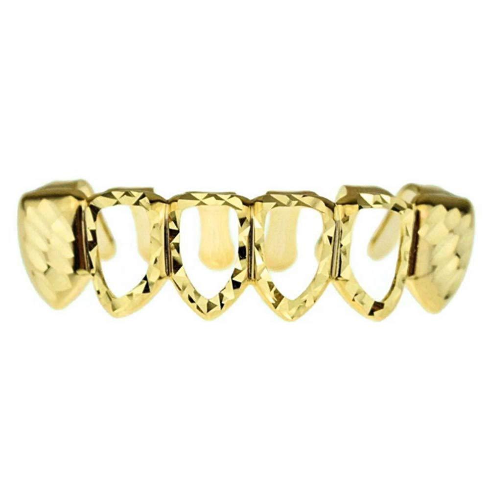 Sunisery Gold Plated Teeth Grillz Mouth Top Bottom Hip Hop Teeth Grills Set (Gold Hollow Bottom)