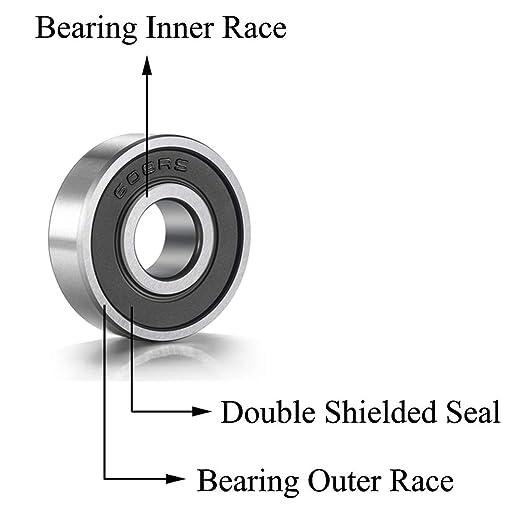 Rodamientos para monopat/ín 10PCS 608-2RS Rodamiento de bolas de doble cara con caucho negro sellado de ranura profunda