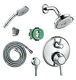 Hansgrohe KSH15753-04070-72PC-2 Kit de cabezal de ducha Croma C 100 con ducha de mano, trimestres termostático con desviador y acabado en cromo