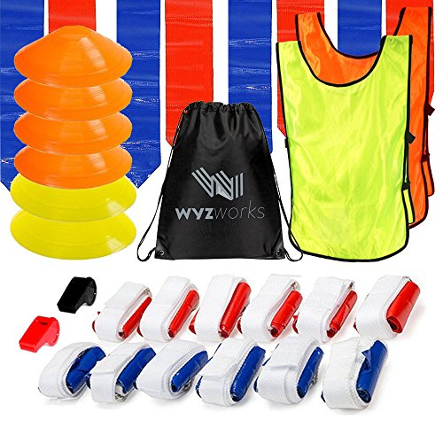 WYZworks 12 Player 3 Flag Football Officaling Ref Kit Set - 12 Belts with 36 Flags [ 18 RED & 18 Blue Flags ] + 6 Cones + Yellow + Orange Tank + Red + Black Whistle ... -