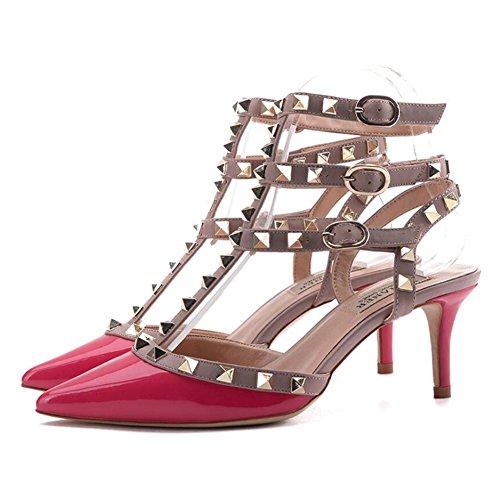 Walking Stilettos Office D Comfort for Women's Outdoor Career Buckle Comfort PU Rivets Heel amp; Dress Summer Sandals Cx4q7A