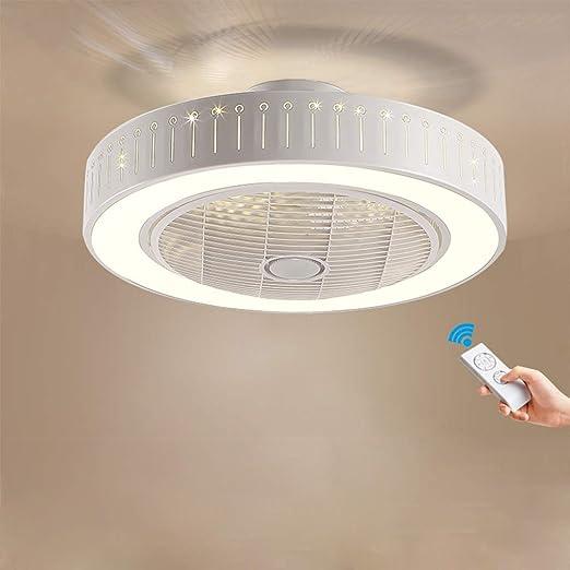 DOCJX Ventilador de techo LED con ventilador de iluminación Ventilador redondo Ventilador de techo creativo ...