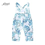KIDSA 0-24M Baby Girl Summer Clothes One-piece Blue Floral Tank Tops Romper Jumpsuit,Blue,90(12-18 Months)