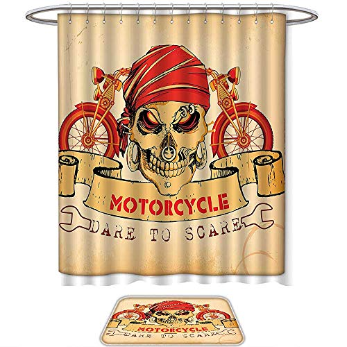 - QINYAN-Home Prints Decorate The Bathroom Manly Decor Illustration of Skull Classics Motorcycle Dare to Scare Spooky Racing Danger Theme. Bathroom Sets(Ten Sizes Select)