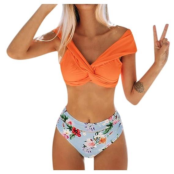 Womens Ruffle Push Up Bikini Set 2 Pcs High Waisted Swimsuit Deep V-Neck Plus Size Swimwear Padded Beach Bathing Suit for Ladies