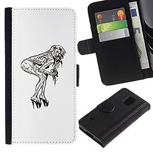 LECELL--Cuero de la tarjeta la carpeta del tirón Smartphone Slots Protección Holder For Samsung Galaxy S5 V SM-G900 -- Pin Up Zombie --
