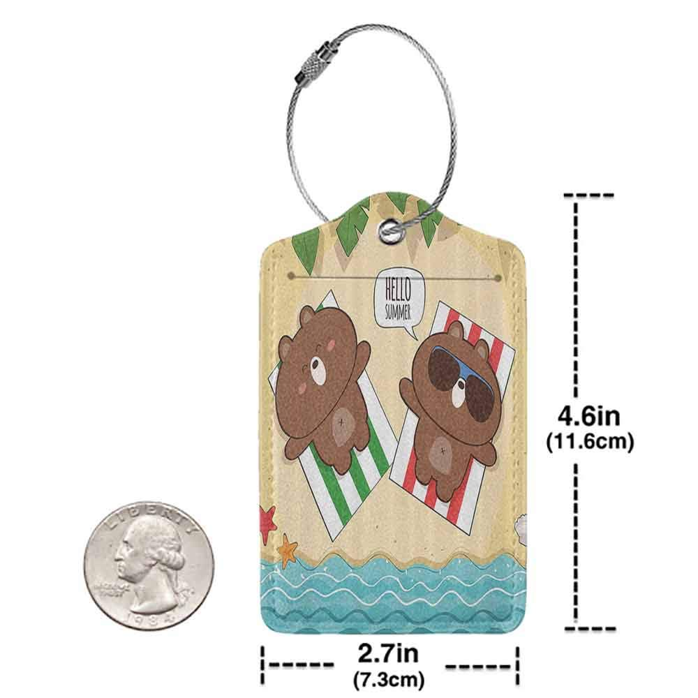 Waterproof luggage tag Cartoon Summer Holiday with Cute Bear Characters on the Beach Sunbathing Funny Illustration Soft to the touch Multi W2.7 x L4.6