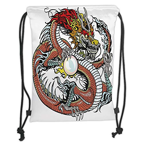 New Fashion Gym Drawstring Backpacks Bags,Dragon,Traditional Chinese Creature Holding A Large Pearl Zodiac Signs Folk Tattoo Graphic Decorative,Multicolor Soft Satin,Adjustable St
