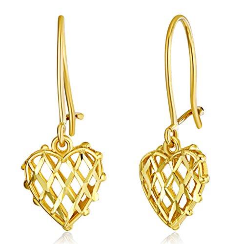 - Wellingsale Ladies 14k Yellow Gold Polished Fancy Heart Drop Earrings