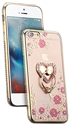 SUNDRY ca09 Iphone 6 Case Secret Garden of Crystal Rhinestone Bling, Soft Rubber Shell Case Cover, Golden