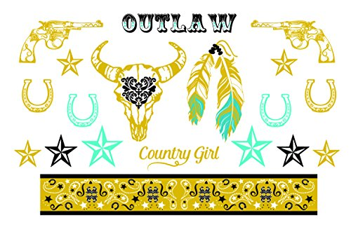Western Gold, Black and Turquoise Metallic Temporary Tattoos - Horseshoe, Revolvers, Stars, Feathers - Stagecoach Accessory - 2 Sheets, 38 Total Tattoos - Custom Tattoos]()