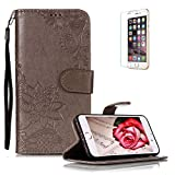 Funyye PU Leather Wallet Case for iPhone 7/8 Free HD Protector,Premium Lace Flower Pattern Magnetic Flip with Cash Pouch Card Slot Design Cover for iPhone 7/8,Gray