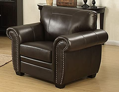 AC Pacific Louis Collection Traditional Upholstered Leather Arm Chair with Antique Brass Nail Head Trim, - Over Dual Reclining Loveseat