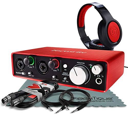 Focusrite Scarlett 2i2 (2nd Gen) USB Audio Interface W/ Cables + Samson Headphone and FiberTique Cleaning Cloth (Best Card Signup Bonus)