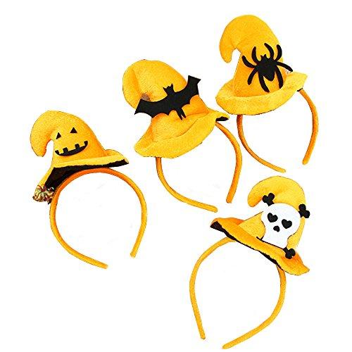 [Pack of 4 Halloween Pumpkin Hat Headbands] (Hollowen Adult Costumes)