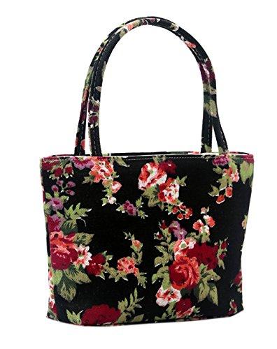 EOZY Damen Mädchen Tote Handtasche Bags Schultertasche Lunch Kosmetik Beutel (Eulen Rosa) Rose Schwarz YRO8FnFxu