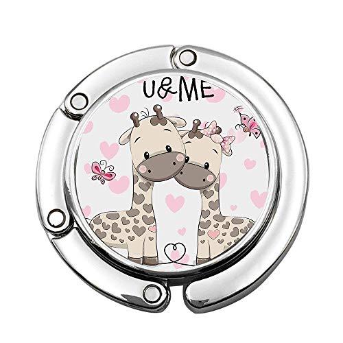 (MichelleSmithred Kids Cute Giraffes in Pure Valentines Love Butterflies Hearts Bows Art Pink White Grey Custom Print Handbag Hanger Foldable Table Purse Hook Caddy Holder)