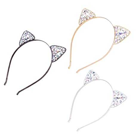 Frcolor 3 Unids diadema de oreja de gato de Cristal Banda de Cabeza Lindo para mujeres