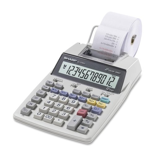 Sharp El1750v Printing Calculator . 2 Line(S) . 12 Character(S) . Lcd . Battery, Power Adapter Powered . White
