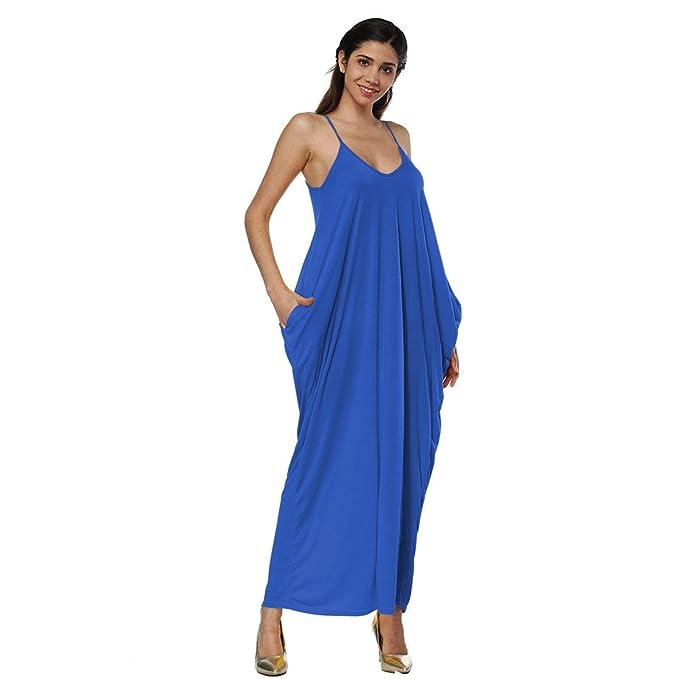 Luckywe Vestido Noche Fiesta Largo Vestido largo Irregular Honda V profundo bolsillo Vintage Ropa Para Mujer