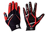 EliteTek RG-14 Football Gloves Youth and Adult (Red, Youth XXS)