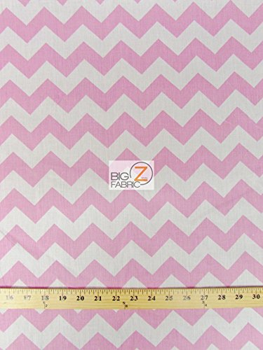 WHITE/PINK 1 ZIG ZAG CHEVRON POLY COTTON FABRIC 58/59 WIDTH SOLD BY THE YARD (P248) by Big Z Fabric B00KY43S5G