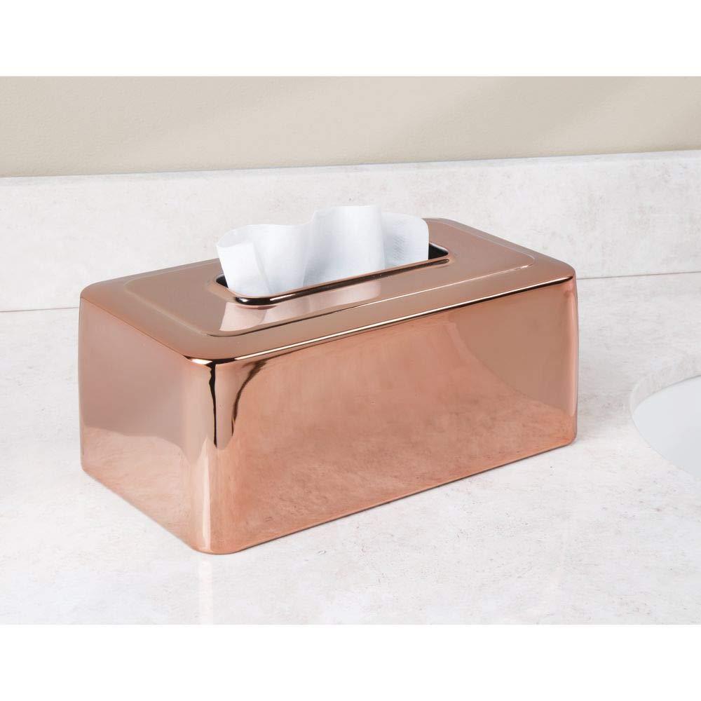 eleganter Kosmetikt/ücherspender f/ür Waschtisch und Waschbecken silberfarben praktische Box f/ür Kosmetikt/ücher mDesign Moderne Kosmetikt/ücherbox f/ürs Bad