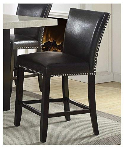 Set of 4 Black Faux Leather Counter Height Chairs with Solid Birch for Dining ()