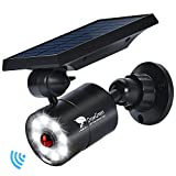 Solar Lights Outdoor Motion Sensor Aluminum,1400-Lumens Bright LED Spotlight 9-Watts(110W Equivalent),Wireless Solar Flood Security Lights for Garden Driveway Patio,Solar Powered Lights(Black)