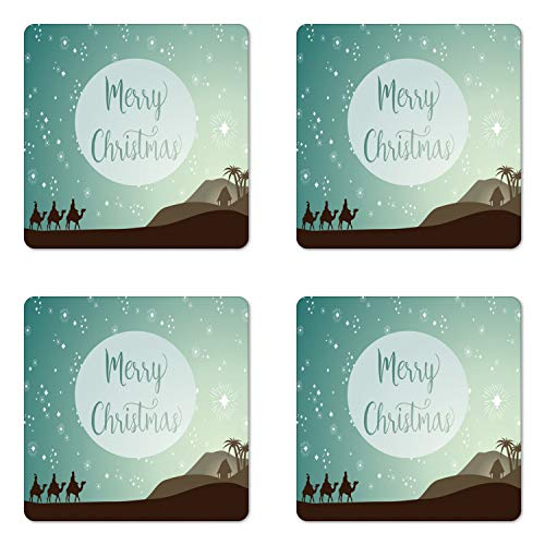 Merry Christmas Coaster - Lunarable Merry Christmas Coaster Set of 4, 3 Magi Following the Star Scene Dessert Journey Camels, Square Hardboard Gloss Coasters, Standard Size, Colorful