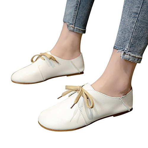 Amlaiworld Women Boat Single Shoes Vintage Spring Bow tie Soft Bottom Wild Lace-up Shallow Casual Shoes Working Shoes White ()