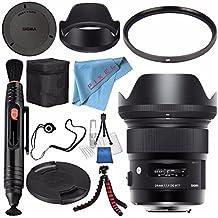 Sigma 24mm f/1.4 DG HSM Art Lens for Canon EF #401101 + 77mm UV Filter + Lens Pen Cleaner + Fibercloth + Lens Capkeeper + Deluxe Cleaning Kit + Flexible Tripod Bundle