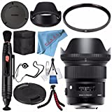 Sigma 24mm f/1.4 DG HSM Art Lens for Nikon F #401306 + 77mm UV Filter + Lens Pen Cleaner + Fibercloth + Lens Capkeeper + Deluxe Cleaning Kit + Flexible Tripod Bundle