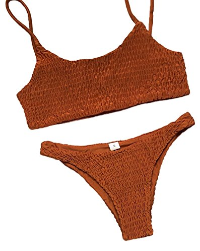 Yinhua Women's Two Piece Solid Color Bikini Swimsuit Sexy Pleated Triangle Bikini Sets (Orange, - Friendly Eco Suits Bathing