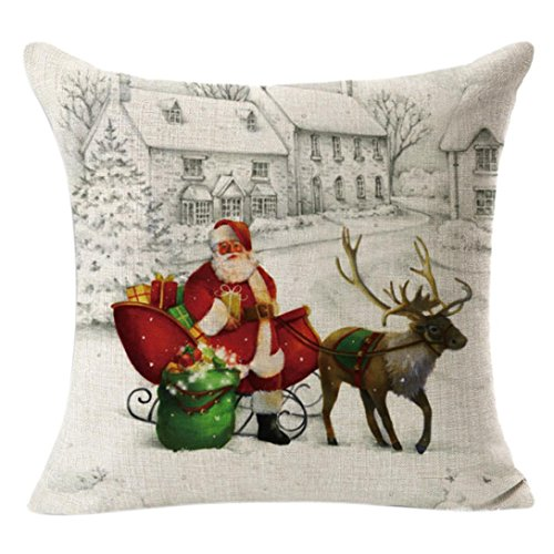 Tsmile Xmas Pillow case Clearance Christmas Gift Linen Blend Cute Designs Sofa Bed Home Decoration Santa Claus Elk Festival Pillow Cushion Covers (45cm X 45cm)