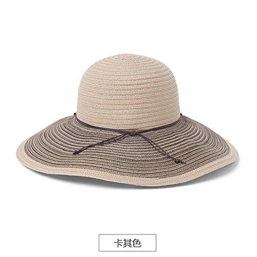 sombrero Khaki 5cm De Sol plegable Caqui regalo 57 viaje Playa mujer Para cabeza sombrero sombrero El Sol Llztym verano sombrero 54 OxYRRw