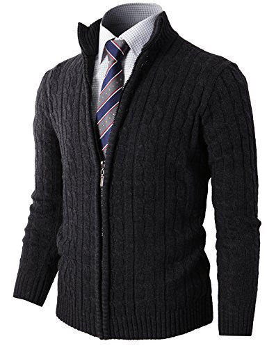 H2H Mens Slim Fit Full-Zip Kintted Cardigan Sweaters with Twist Patterned Charcoal US M/Asia L (KMOCAL032) ()