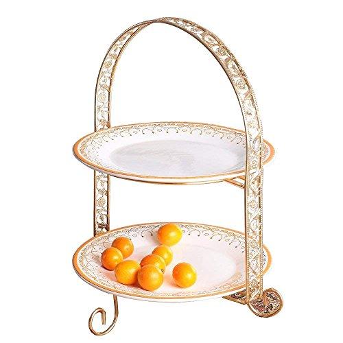 YBK Tech Euro Style Multi Tier Porcelain Round Cake Plate Stand Dessert Display Cakes Platter Food Rack (2-tier) (2 Tier Porcelain Plates)