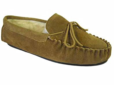 Mens LODGEMOK Moccasins SUEDE LEATHER REAL WOOL Outdoor Sole Slippers 7-12