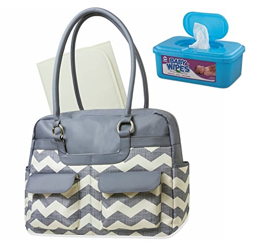 baby-essentials-chevron-microfiber-diaper-bag-with-coordinated-changer-plus-bonus-hypoallergenic-uns