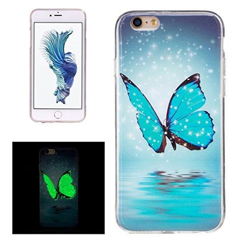 GR iPhone 6 Plus & 6s Plus Soft TPU Noctilucent Pflaumenmuster IMD Workmanship Rückseiten Cover Case ( SKU : Ip6p0938l )
