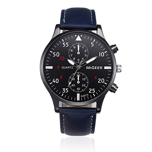 Mnyycxen Mens Quartz Watch, Unique Retro Design Leather Band Analog Alloy Quartz Wrist Watch, Watches with Round Dial Alloy Case,Stainless Steel Watch (Blue) ()
