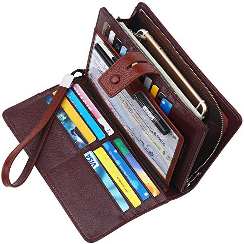 Lavemi Big Fat Rfid Blocking Leather Checkbook Credit Card Holder Wallets Clutch for Women with Wristlet Strap(Coffee)