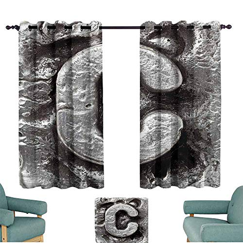 Mannwarehouse Letter C Kids Room Curtains Fused Elements Aluminum Style Minuscule C Words First Name Theme Background Artwork Darkening and Thermal Insulating 63
