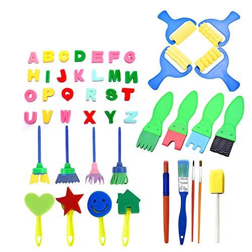 スポンジ絵具セット 子供おもちゃ 絵を描くおもちゃ 47点セット 耐久性あり 小学校/幼稚園/自宅用 子供知育おもちゃ 絵画ツール