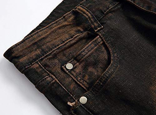 Alta Denim Skinny Elasticizzati Jeans Especial Estilo Pantaloni Blackyellow 88 Uomo Bobo Vita Da Tagliati A qZa17xwOI