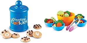 Learning Resources Smart Counting Cookies, Counting, Sorting, 13 Piece Set, Ages 2+ & Resources Garden Fresh Salad Set, Vegetables, Play Food, 38 Piece Set, Ages 2+